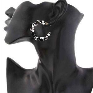 Jewelry - Black and white acrylic hoop earrings